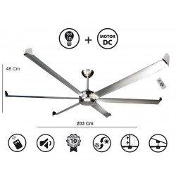 Ventilatore da soffitto/destratificatore, Big Cool Eco 203,  203cm, alluminio, con luce, DC, iper silenzioso, Klassfan