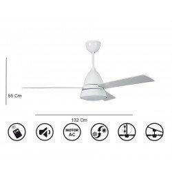 Ventilatore da soffitto, Snowy, 132cm, bianco, design, luce,telecomando,  Klassfan