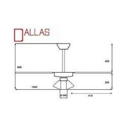 Ventilatore da soffitto, Dallas 3BL, 105cm, bianco c/s rattan, con luce,  classico,  Lba Home
