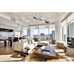 Ventilatore da soffitto, super destratificatore, 132cm, DC, iper silenzioso, con termostato, bianco/legno, Klassfan