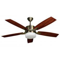 Ventilatore da soffitto, Stella Laiton,132 cm, con luce, ottone/noce/ciliegio, Lba home.