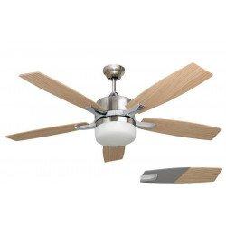 Ventilatore da soffitto, Stella Silver, 132cm, con luce, corpo nichel/pale argento e faggio, Lba Home