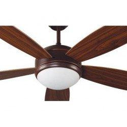 Ventilatore da soffitto,Vanu, 132cm, classico, acciaio marrone/ noce scuro, con luce, Faro.