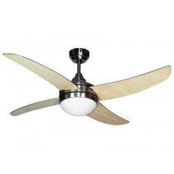 Ventilatore da soffitto, Artus Hetre, 116cm, niquel/faggio/grigio, con luce, telecomando, Lba Home