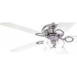 Ventilatore da soffitto, Helix fusion, 132 cm, cromo/nero/bianco, con luce, classico.