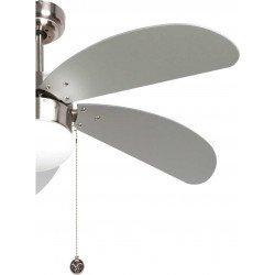 Ventilatore da soffitto, Libesilver, 107cm, con luce, niquel/argento/faggio, Lba Home
