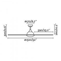 Ventilatore da soffitto, Sioux, 132cm, DC, iper silenzioso, IP44, per interni/ esterni, Faro