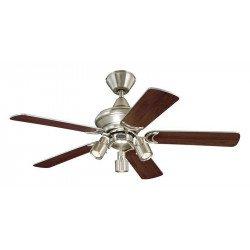 Ventilatore da soffitto, 105cm, classico, alluminio satinato/argento/ rovere, con luce, Westing house.