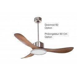 Ventilatore da soffitto/destratificatore, Modulo, 132cm, DC, + termostato, iper silenzioso, cromo/legno, con luce, Klassfan.