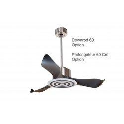 Ventilatore da soffitto/destratificatore, Modulo, 106cm, cromo/pale nere, DC, iper-silenzioso, termostato, con luce, Klassfan