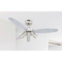 Ventilatore da soffitto, jet plus,  105 cm, pale wengé/argento, con luce e telecomando, Westinghouse.