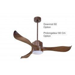 Ventilatore da soffitto, super destratificatore, Modulo, 132cm, iper silenzioso, potente, DC, marrone, con luce Klassfan