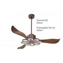 Ventilatore da soffitto/destratificatore, Modulo, 132cm, DC, iper silenzioso, marrone, + termostato e luce, Klassfan