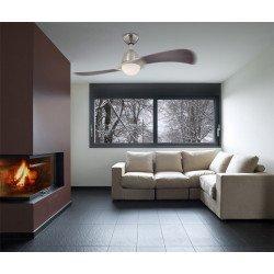 Ventilatore da soffitto, Solana, 122 cm, moderno, nichel spazzolato/2 pale wengé,  con luce e telecomando, Westinghouse.