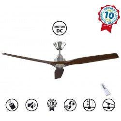 Ventilatore da soffitto, Soft 60 BS-DW, 152cm,  cromo/noce scuro, DC, iper silenzioso, Klassfan