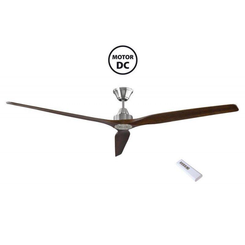 Ventilatore da soffitto, Soft 70, 178cm,  cromo/noce scuro , DC, iper silenzioso, Klassfan