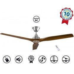 Ventilatore da soffitto, Soft 60 BS-SW, 152cm,  cromo/noce chiaro, DC, iper silenzioso, Klassfan