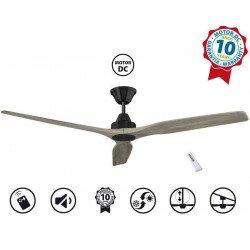 Ventilatore da soffitto, Soft 60 BK-AOK, 152cm, nero/rovere chiaro, DC, iper silenzioso, Klassfan