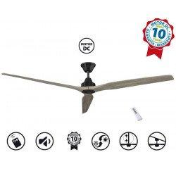Ventilatore da soffitto, Soft  BK-Aok 70, 178cm, nero/rovere chiaro , DC, iper silenzioso, Klassfan