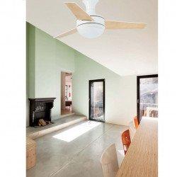 Ventilatore da soffitto, Mini Ufo, 101,5 cm, bianco e acero, con lampada, Faro.