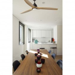 Ventilatore da soffitto, Alo LED, 152cm, nero/ legno, + telecomando e punto luce, Faro.