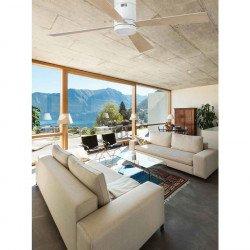 Ventilatore da soffitto, Timor, 132cm, bianco/ acero, moderno, con luce, Faro.