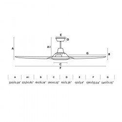 Ventilatore da soffitto, Meno, 136 cm, moderno, bianco, + telecomando, FAro