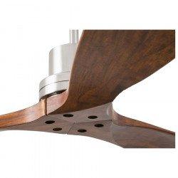 Ventilatore da soffitto, Lantau, 132 cm, moderno, nichel opaco e legno di noce, con telecomando, Faro.