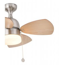 Ventilatore da soffitto, Mediterraneo, 81,5cm, nichel/acero/mogano, con luce, classico, Faro.