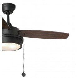 Ventilatore da soffitto, Komodo,  106 cm, con luce integrata, nero/noce, Faro.