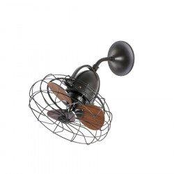 Ventilatore da soffitto/parete, Keiki, marrone scuro/legno, stile industriale/retró, Faro
