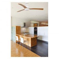 Ventilatore da soffitto, Grid, DC, 132cm, corpo bianco/pale legno, Faro