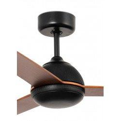 Ventilatore da soffitto, Grid, DC, 132cm, corpo nero/pale legno, Faro
