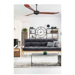 Ventilatore da soffitto, Aoba, 180cm, modernо, corpo nero/pale legno, Faro.