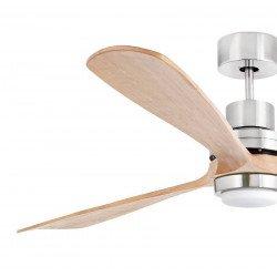 Ventilatore da soffitto, Lantau-G LED, 168 cm, moderno, nichel opaco e legno di pino, con telecomando, Faro