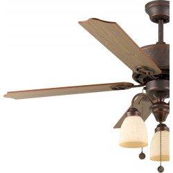 Ventilatore da soffitto, 120 cm, Plymooth, Marrone/rovere, stile classico, con luce,  Lba Home