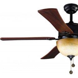 Ventilatore da soffitto, Monte Carlo, 120cm,  marrone rustico/ciliegio, stile classico, con luce, Lba Home.