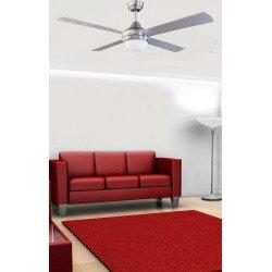 Ventilatore da soffitto,  Effy Chr, 122 cm, moderno, acciaio cromato/ pale grigie o bianche, con luce, Lba Home.