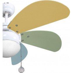 Ventilatore da soffitto, Colores pastel, 85cm, multicolor, con luce, per bambini, Lba Home