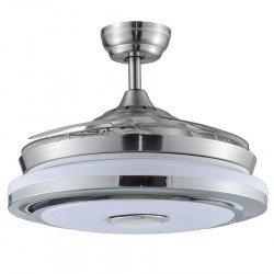 Ventilatore da soffitto, Shadow Sound, DC, 107cm, pale a scomparsa, niquel/pale trasparenti, con luce, + altavoce, Lba Home