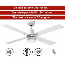 Ventilatore da soffitto, Electra DC, 122cm, iper silenzioso, bianco, con luce e telecomando, Klassfan