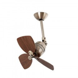 Ventilatore da soffitto, Todelo, 46cm, ottone antico/pale noce, vintage, orientabile, senza luce, Pépeo.