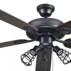 Ventilatore da soffitto, Chanterelle, 132 cm, grigio scuro/pale wengé/ faggio, con luce, Lba Home