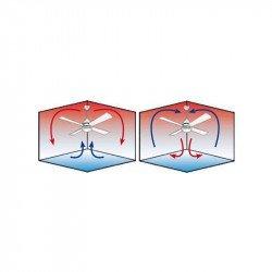 Ventilatore a soffitto, contemporaneo, 122 cm. cromato, lame con due facce bianche grigie, scatola di controllo