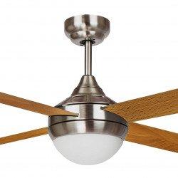 Ventilatore da soffitto, EFFY CHR Arce, 122 cm, moderno, acciaio cromato/ pale grigie o marrone chiaro, con luce, Lba Home.