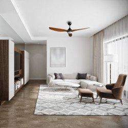 Ventilatore da soffitto, Flat Wood Wing, 132cm, DC, con luce, grigio basalto/pino, silensiozo, Lba Home