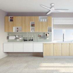 Ventilatore da soffitto, Flat White, 132cm, bianco, DC, iper silenzioso, potente, con termostato,Klassfan.