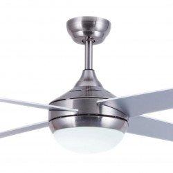 Ventilatore da soffitto, EFFY CHR LED, 122 cm, acciaio cromato/ pale grigie o marrone chiaro, con 3 colori luce , Lba Home.