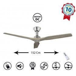 Ventilatore da soffitto, Softy 60 BS-AOK, 152cm, cromo /rovere chiaro, DC, iper silenzioso, Klassfan
