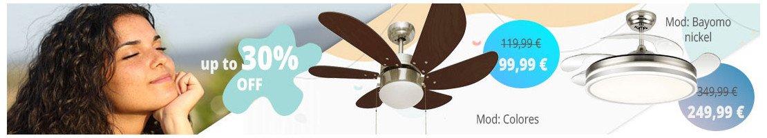 Ventilatori da soffitto con luce-per superfici da 0 a 10 m².